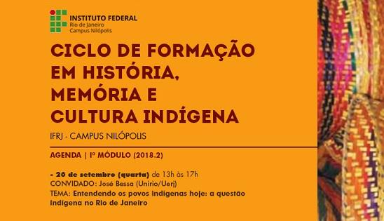 cartaz em laranja, escrita em marrom e preto, logo do ifrj verde e vermelha e preta