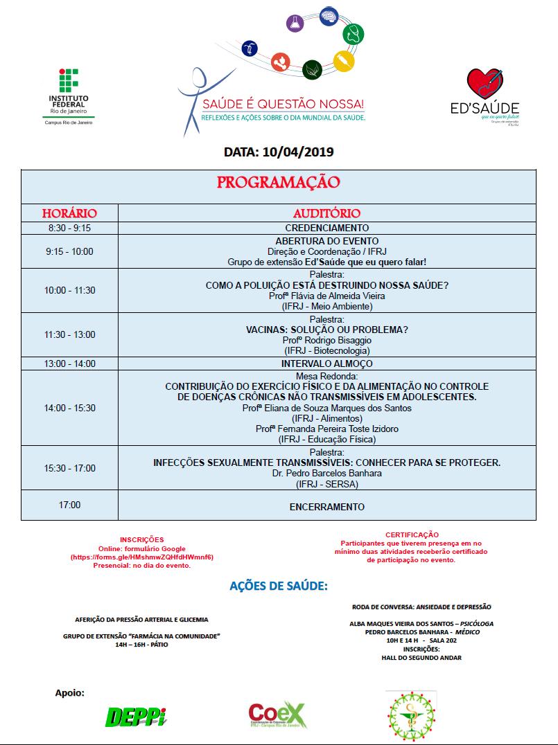 Imagem com a programação do evento