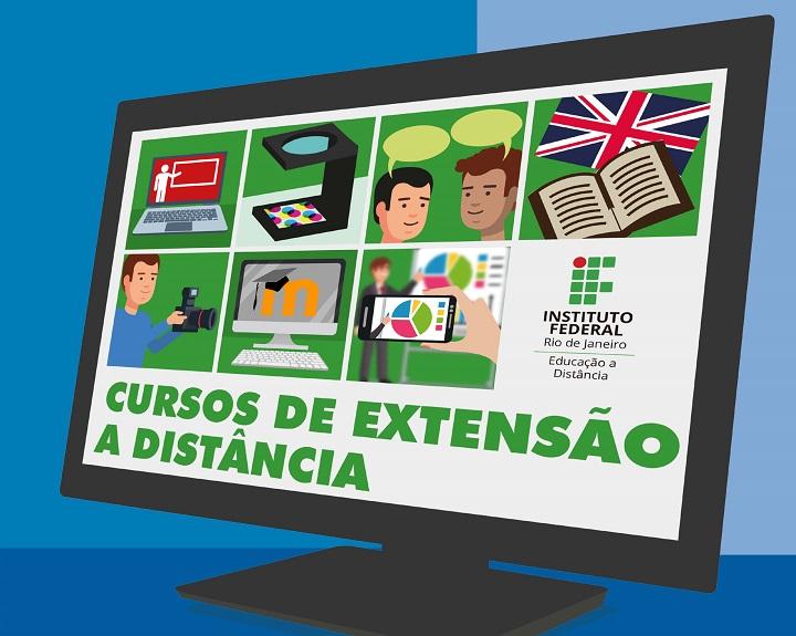 A imagem mostra ilustração de uma tela de computador com várias imagens relacionadas ao curso, como pessoas conversando, alguém fazendo uma foto, um notebook entre outras.