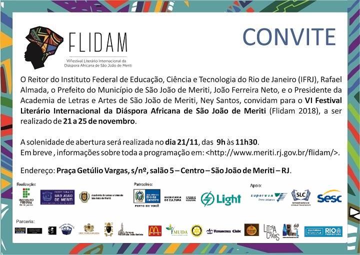 convite FLIDAM com o logo da Feira, escrita em preto e contorno colorido em cima de cartaz branco