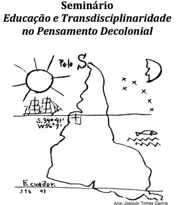 Desenho do continente sul-americano de cabeça para baixo cortado pelos paralelos e com um barco navegando em direção ao continente