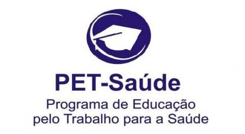 logo do programa Pet-Saúde/Interprofissionalidade em azul marinho num fundo branco
