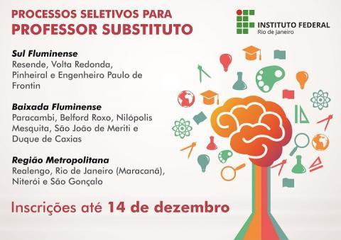 cartaz cinza, escrita com vermelho e preto, informações sobre os campi que estão ofertando as vagas, desenho de um cérebro em laranja, cheio de ideias