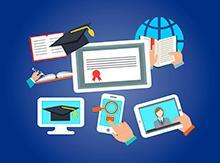 Vemos um certificado de conclusão de curso ao centro cercado de objetos como um capelo, um tablet, um celular, um caderno aberto, um livro aberto e um globo terrestre
