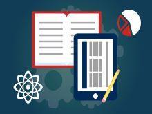 Vemos um fundo azul e sobre ele um livro, um tablet e um lápis, além de um gráfico de pizza e um modelo atômico